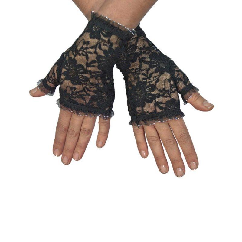 kurze schwarze fingerlose burlesque handschuhe mit spitze. Black Bedroom Furniture Sets. Home Design Ideas