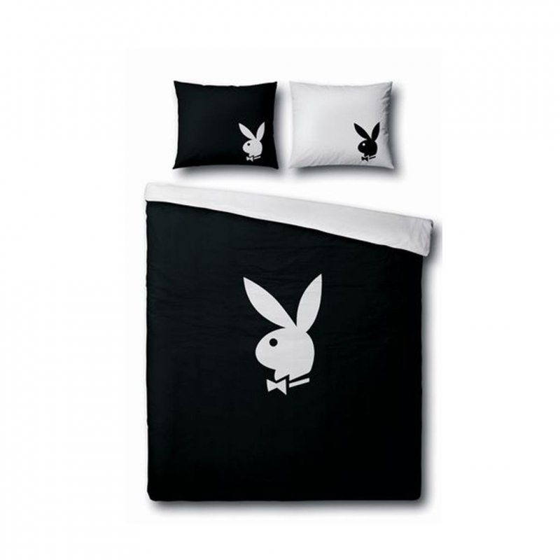 playboy bettw sche classic schwarz 135x200 80x80 cm baumwolle. Black Bedroom Furniture Sets. Home Design Ideas