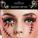 Gesichts Tattoo Face Art Narbe Halloween Karneval
