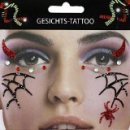 Gesichts Tattoo Face Art Spinne Spinnennetz Halloween...