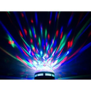 rotierendes rgb led partylicht e27 fassung 3w discokugel lasershow di. Black Bedroom Furniture Sets. Home Design Ideas